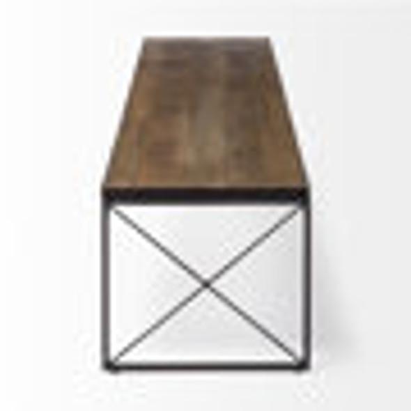 Rectangular Mango Wood/Medium Brown Top And Black Iron Base Accent Bench
