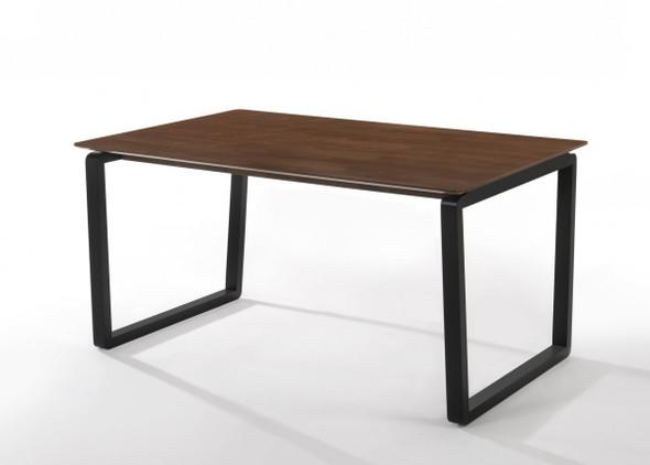 Rectangular Modern Walnut Finish Dining Table w/ Black Metal U shape legs