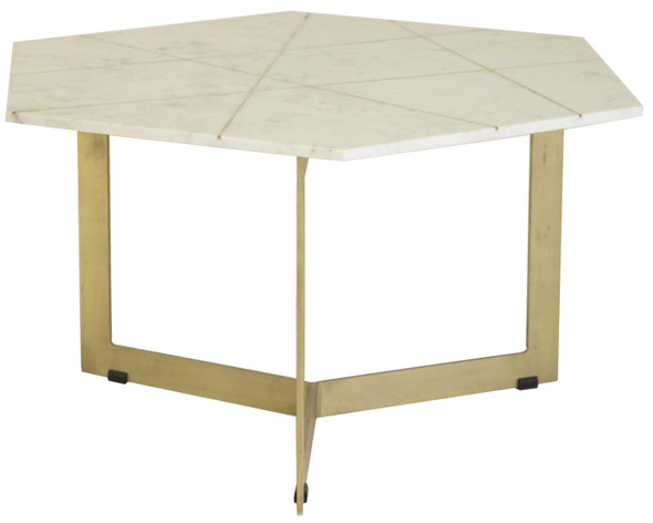 "36"" X 31"" X 18"" Antique Brass Iron/Marble Coffee Table"