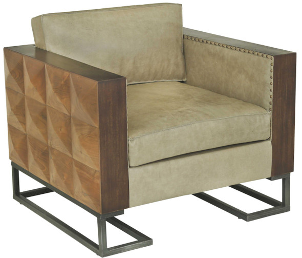"""36'.4"""" X 33'.2"""" X 27"""" Black And Brown Iron/Wood/Leather Accent Chair"""