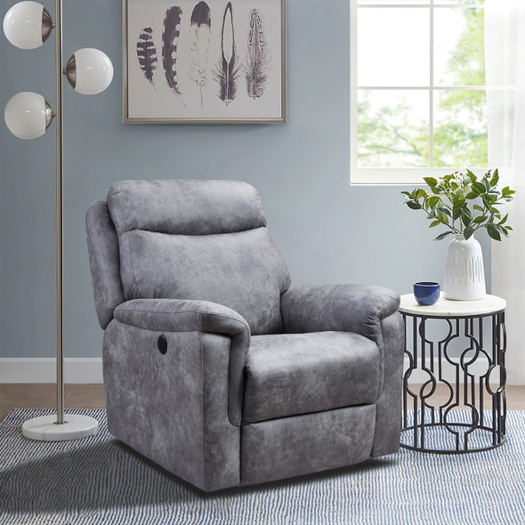 """36'.2"""" X 39'.37"""" X 41'.7"""" Grey Air Leather - Power Recliner with USB port"""