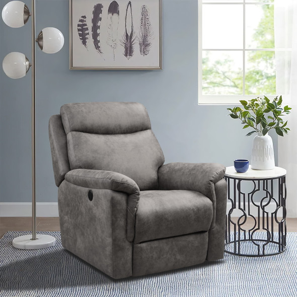 """36'.2"""" X 39'.37"""" X 41'.7"""" Brown Air Leather - Power Recliner with USB port"""