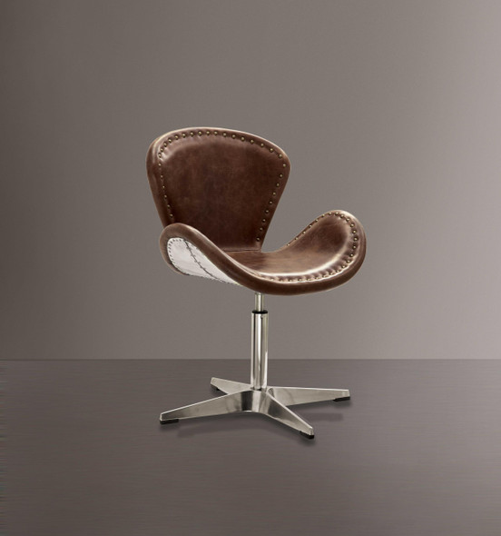 """25"""" X 24"""" X 33"""" Retro Brown Leather Accent Chair (1Pc)"""