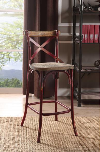 "18"" X 20"" X 43"" Antique Red Wood Bar Chair (1Pc)"
