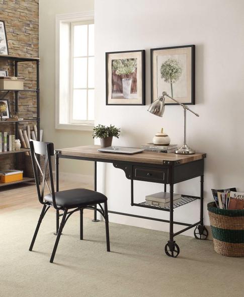 "18"" X 21"" X 36"" Black Polyurethane Side Chair (Set-2)"