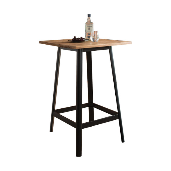 "28"" X 28"" X 41"" Natural amp; Black Wood Bar Table"