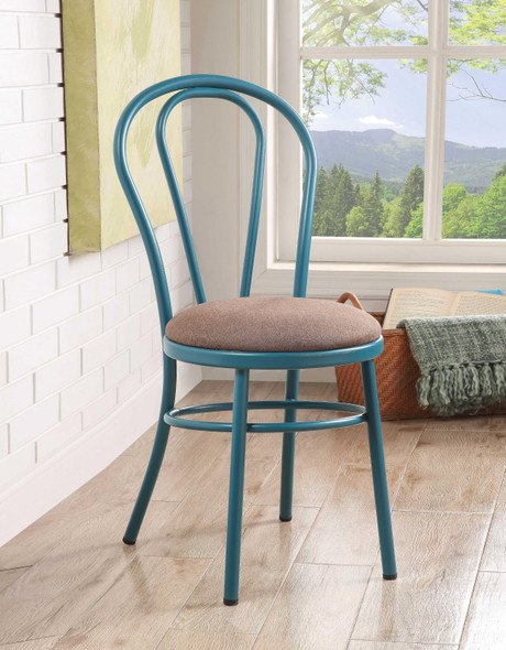 """17"""" X 17"""" X 36"""" Teal Fabric Side Chair (Set-2)"""