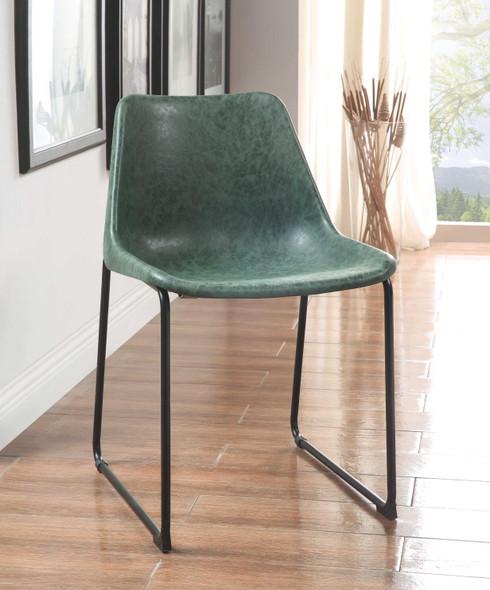 "18"" X 21"" X 28"" Vintage Green amp; Black Metal Side Chair (Set-2)"