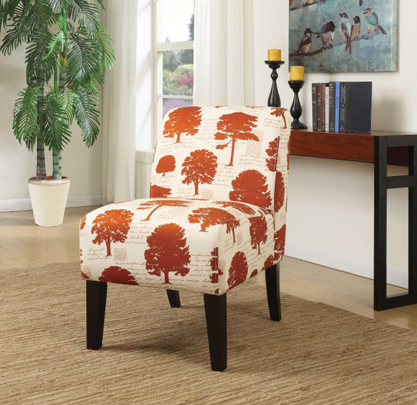 """23"""" X 31"""" X 34"""" Tree Fabric Wood Accent Chair"""