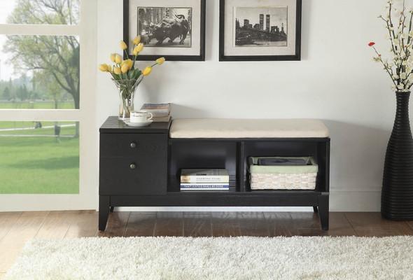 """40"""" X 16"""" X 18"""" Black Fabric Bench W/Storage"""