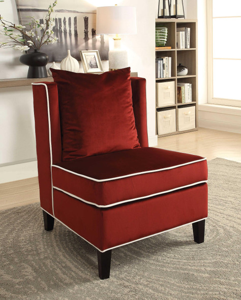 """29"""" X 32"""" X 39"""" Red Velvet Leatherette Accent Chair"""