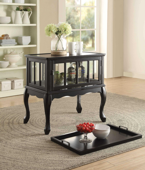 "28"" X 19"" X 31"" Black Wood Console Table amp; Tray"