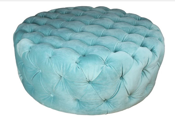 """42"""" X 42"""" X 16"""" Mint Polyester Round Tufted Ottoman"""