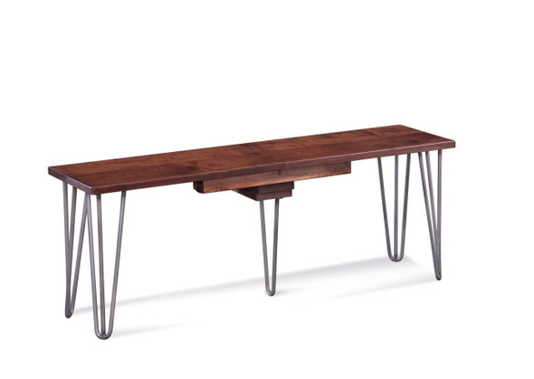 """48"""" X 14"""" X 18"""" Deep Maple And Steel Bench- 5-12"""" Leaves"""