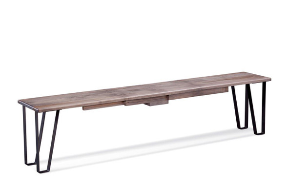 """48"""" X 14"""" X 18"""" Ash Gray Rough Cut Maple And Steel Bench with 5-12"""" Leaves"""