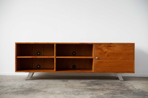"72"" X 16"" X 23.'5"" Natural Cherry And Steel TV Console"