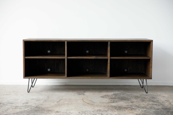 """60"""" X 16"""" X 25.'5"""" Maple And Steel TV Console"""
