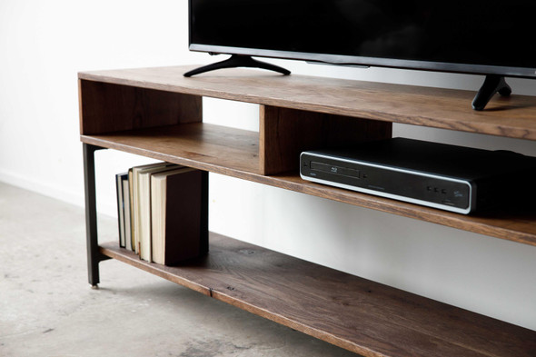 """60"""" X 16"""" X 24"""" Chocolate Maple And Steel TV Console"""