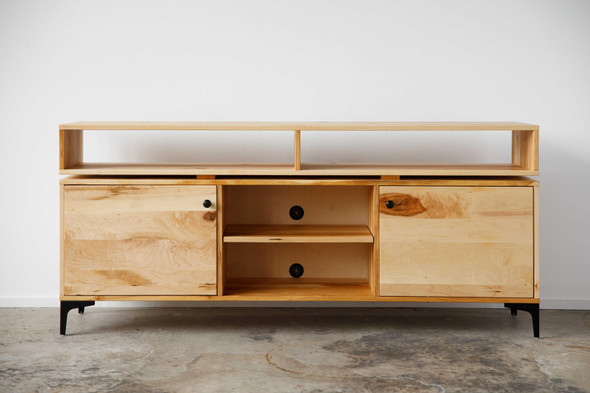 "72"" X 16"" X 32"" Natural Maple And Steel TV Console"