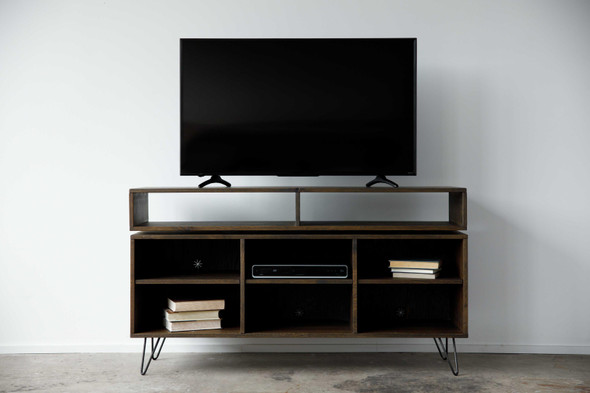 """60"""" X 16"""" X 33.'75"""" Charcoal Maple And Steel TV Console"""