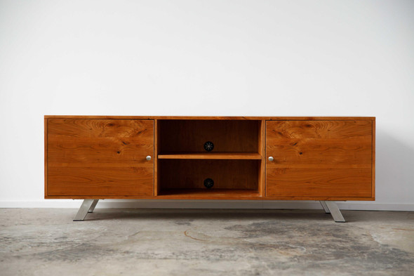 "72"" X 16"" X 23.'5"" Natural Cherry And Steel TV Console - 373925"