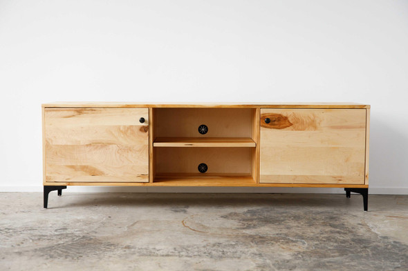 "72"" X 16"" X 23.'5"" Natural Maple And Steel TV Console"