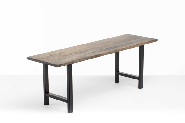 """48"""" X 14"""" X 17"""" Charcoal Ash Wood And Steel Entryway Dining Bench"""