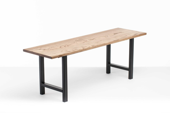 """48"""" X 14"""" X 17"""" Chocolate Ash Wood And Steel Entryway Dining Bench"""