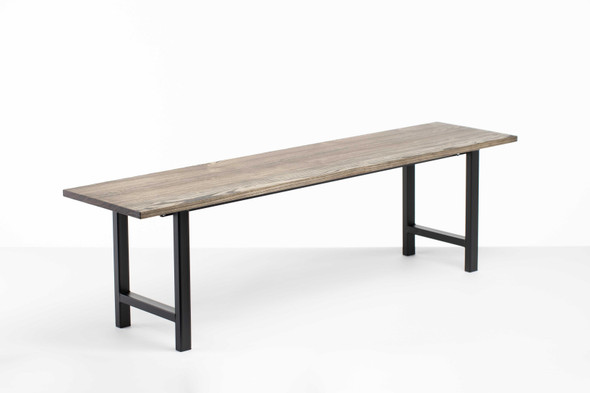 "60"" X 14"" X 17"" Charcoal Ash Wood And Steel Entryway Dining Bench"