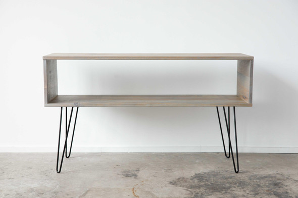 """48"""" X 16"""" X 27.'75"""" Silver Maple And Steel TV Console"""