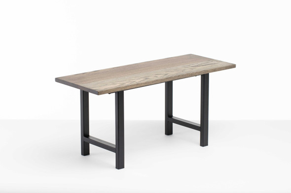 """36"""" X 14"""" X 17"""" Charcoal Ash Wood And Steel Entryway Dining Bench"""