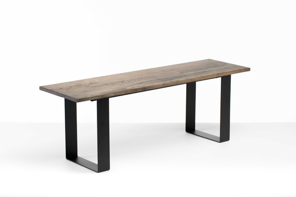 """48"""" X 14"""" X 17"""" Charcoal Ash Wood And Steel Entryway Dining Bench - 373904"""
