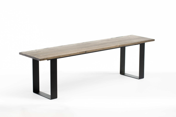 "60"" X 14"" X 17"" Charcoal Ash Wood And Steel Entryway Dining Bench - 373906"