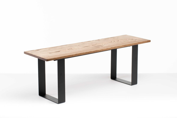 """48"""" X 14"""" X 17"""" Chocolate Ash Wood And Steel Entryway Dining Bench - 373903"""