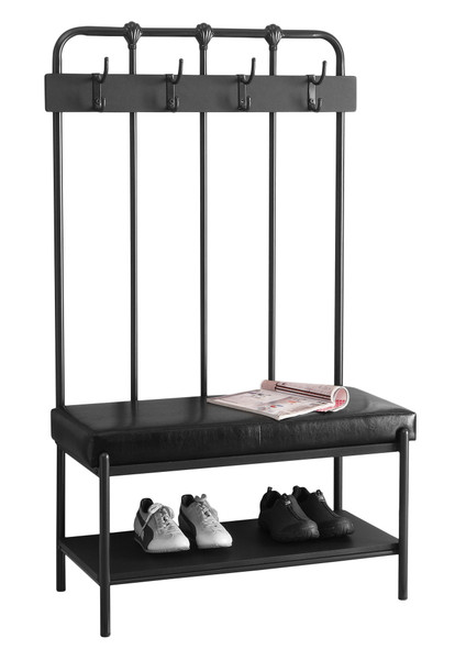 """17'.75"""" x 37'.75"""" x 60'.5"""" Charcoal, Metal, Foam, Leather-Look - Hall Entry Bench"""