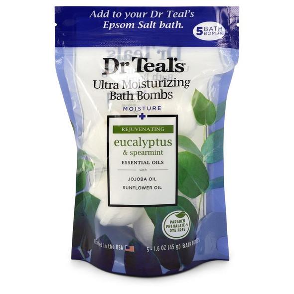 Dr Teal's Ultra Moisturizing Bath Bombs by Dr Teal's Five (5) 1.6 oz Moisture Rejuvinating Bath Bombs with Eucalyptus & Spearmint, Essential Oils, Jojoba Oil, Sunflower Oil (Unisex) 1.6 oz for Men