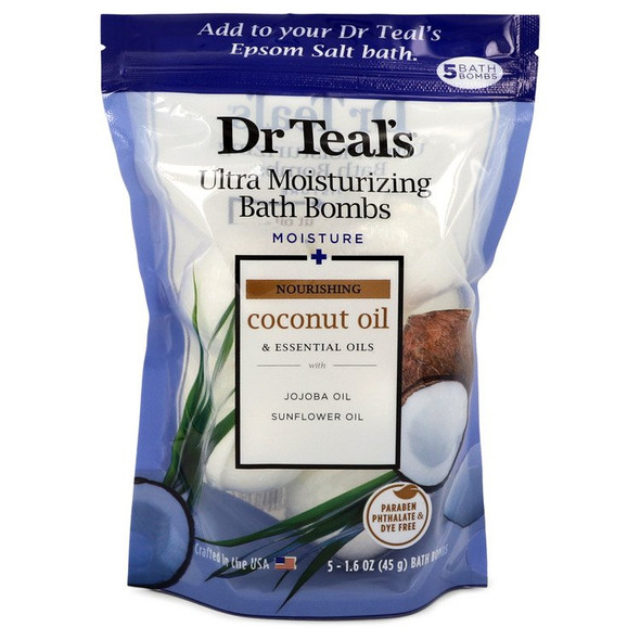Dr Teal's Ultra Moisturizing Bath Bombs by Dr Teal's Five (5) 1.6 oz Moisture Rejuvinating Bath Bombs with Coconut oil, Essential Oils, Jojoba Oil, Sunfower Oil (Unisex) 1.6 oz for Men