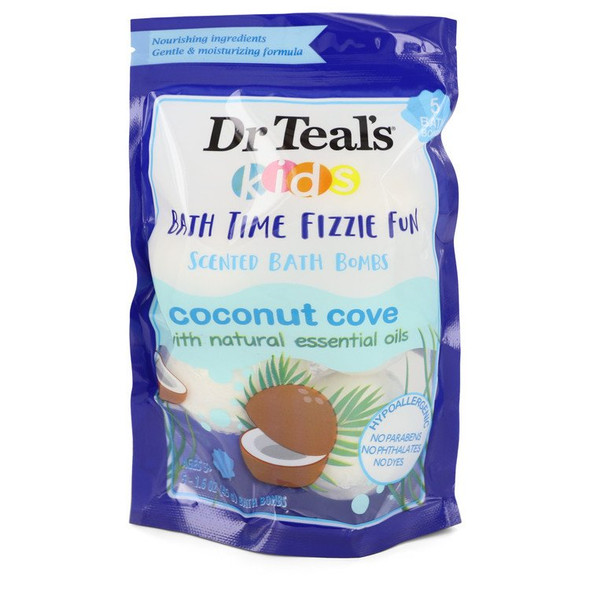 Dr Teal's Ultra Moisturizing Bath Bombs by Dr Teal's Five (5) 1.6 oz Kids Bath Time Fizzie Fun Scented Bath Bombs Coconut Cove with Natural Essential Oils (Unisex) 1.6 oz for Men
