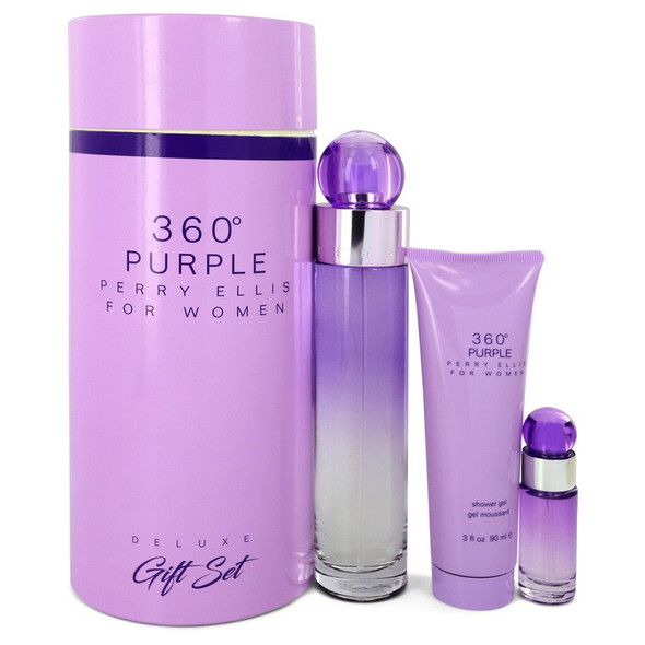 Perry Ellis 360 Purple by Perry Ellis Gift Set -- 3.4 oz Eau De Parfum Spray + .25 oz Mini EDP Spray + 3 oz Shower Gel for Women