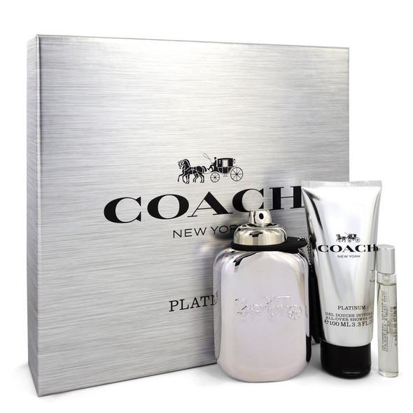 Coach Platinum by Coach Gift Set -- 3.3 oz Eau De Parfum Spray + 3.3 oz Shower Gel + .25 oz Mini EDP Spray for Men