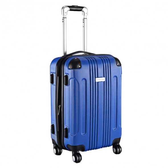 "GLOBALWAY Expandable 20"" ABS Carry On Luggage Travel Bag Trolley Suitcase-Blue"