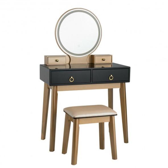 Makeup Vanity Table Set 3 Color Lighting Dressing Table-Black - COHW65990US-BK