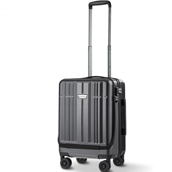 Front Pocket Luggage Business Trolley Suitcase withTSA Locks-Black