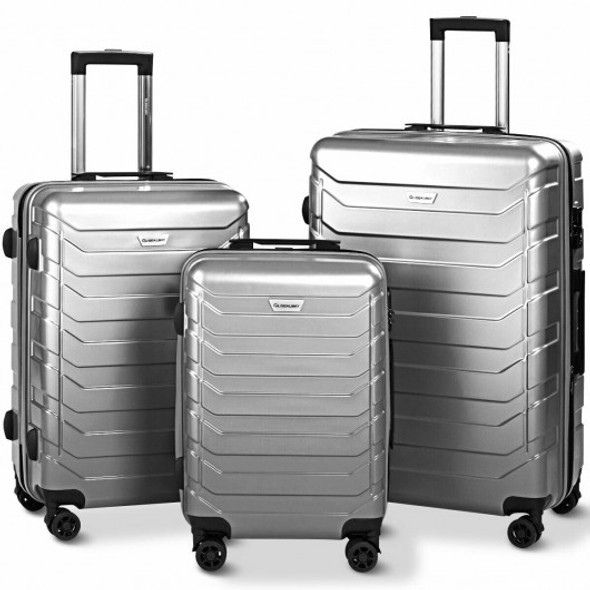 3PCS Spinner Expandable Suitcase With TSA Lock-Gray