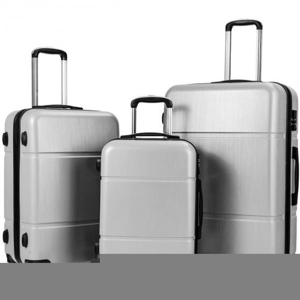"3 Pcs GLOBALWAY Luggage Set 20"" 24"" 28"" Trolley Suitcase w/ TSA Lock-Silver Gray"