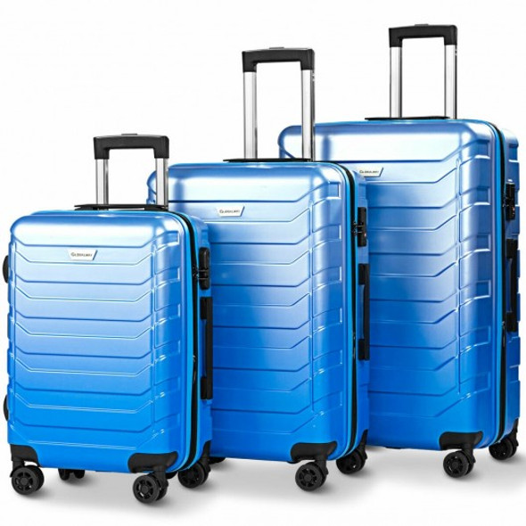 3 pcs Spinner Expandable Suitcase With TSA Lock-Blue