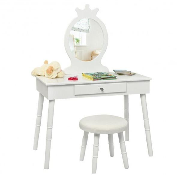 Kids Vanity Makeup Table & Chair Set Make Up Stool-White