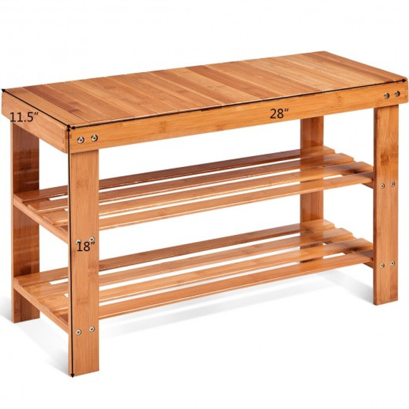 3 Tier Bamboo Bench Storage Shoe Shelf-Natural - COHW66058NA