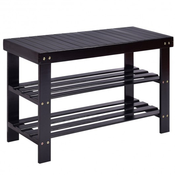 3 Tier Bamboo Bench Storage Shoe Shelf-Black