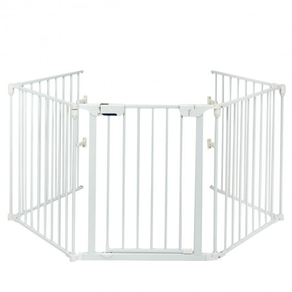 115 Inch Length 5 Panel Adjustable Wide Fireplace Fence-White